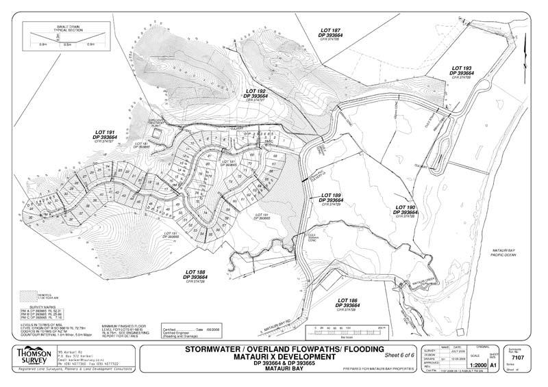 Matauri Bay development as-built plan for stormwater/overland flowpaths/flooding