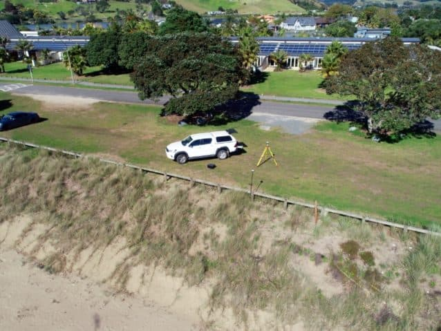 view of surveyor's work truck from drone